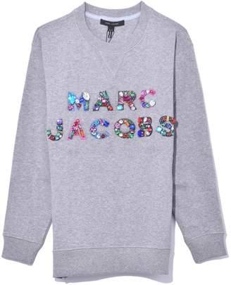 Marc Jacobs Lux Sweatshirt with Crystals in Grey Melange