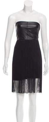 Blaque Label Fringe-Trimmed Leather Dress
