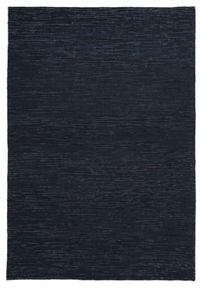 Scandinavian Network Elias Style Wool and Jute Midnight Blue Rug