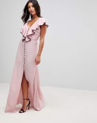 MACKINTOSH Millie Dorchester Ruffle Front Maxi Dress