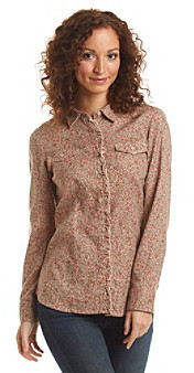Ruff Hewn Ruffle Front Floral Print Woven Shirt