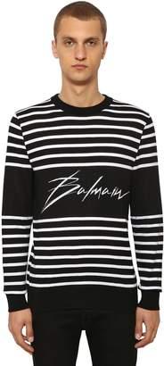 Balmain Striped Logo Cotton Knit Sweater