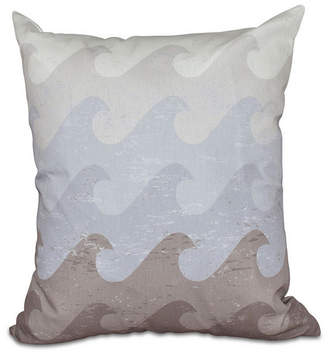 E By Design Deep Sea 16 Inch Taupe and Gray Decorative Nautical Throw Pillow