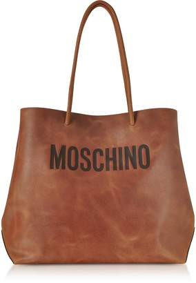 Moschino Brown Leather Tote Bag w/Signature Logo