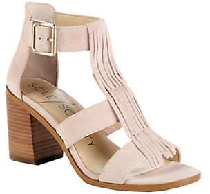 Sole Society Fringe Block Heel Sandals - Delila
