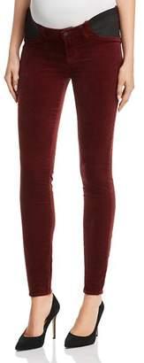 J Brand Mama J Super Skinny Velvet Maternity Jeans in Oxblood