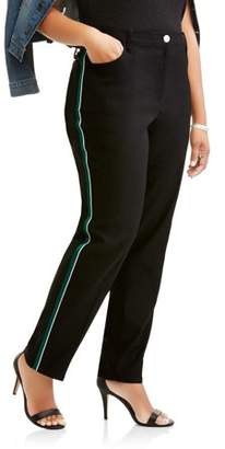 Lifestyle Attitudes Women's Plus Tapered Ankle Fashion Career Pant with Racer Stripe