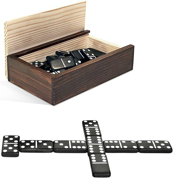 Double 6 Black Dominoes Set