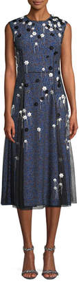 Cédric Charlier Sleeveless Mesh-Overlay A-Line Silk Cocktail Dress w/ Floral Appliques