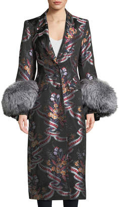 Cinq à Sept Blanche Floral Coat w/ Fox Fur Cuffs
