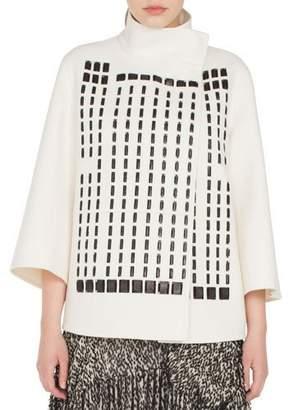 Akris Rocky Bracelet-Sleeve Hotel Facade Embroidered Wool-Blend Jacket