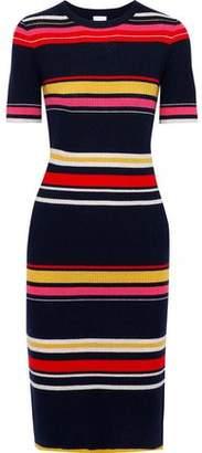 Iris & Ink Poppy Striped Ribbed Wool-blend Dress