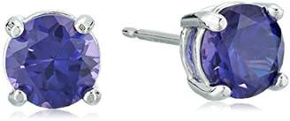 Sterling Silver Created Alexandrite Sapphire Round 6mm Stud Earrings
