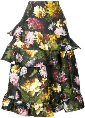 Preen by Thornton Bregazzi Esta floral frilled skirt