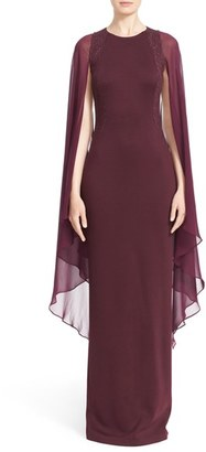 Women's St. John Collection Embellished Angel Sleeve Matte Shine Milano Knit Gown $1,995 thestylecure.com