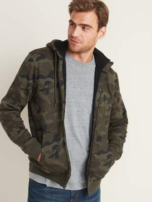 Old Navy Camo-Print Sherpa-Lined Zip Hoodie for Men