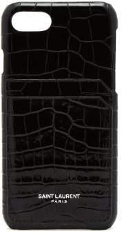 Saint Laurent Crocodile Effect Leather Iphone Case - Womens - Black