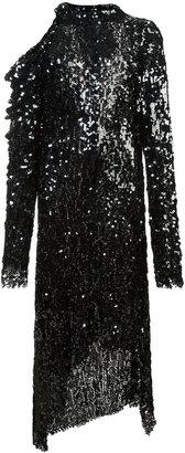 Magda Butrym asymmetric and open shoulder glitter dress
