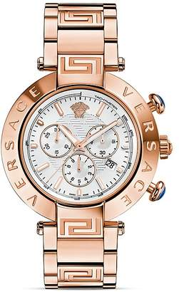 Versace Reve Chronograph Rose Gold PVD Watch with White Sunray Dial, 46mm