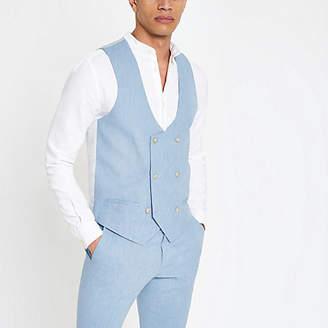 River Island Mens Light blue linen waistcoat