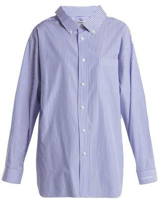 Balenciaga Swing Collar Cotton Poplin Striped Shirt - Womens - Blue Stripe
