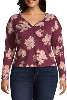 Arizona Long Sleeve V Neck Floral T-Shirt-Womens Juniors Plus