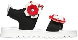 Neoprene & Nappa Sandals W/ Flowers