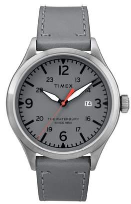 Timex R Waterbury Leather Strap Watch, 40mm
