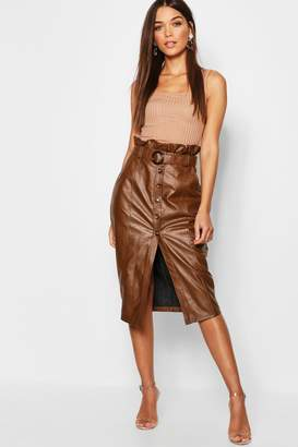 boohoo Leather Look Mock Horn Button Paperbag Midi Skirt