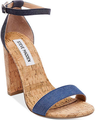 Steve Madden Women's Carrson Two-Piece Cork-Block-Heel Sandals $89.98 thestylecure.com