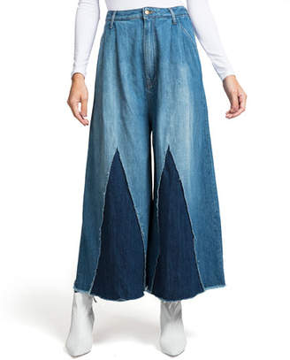 PRPS Sleet Cropped Wide-Leg Denim Gauchos