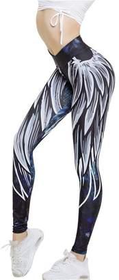 3D Leggings Sale! 3D Angel Wing Print Active Pants Londony Waisted Running Leggings S