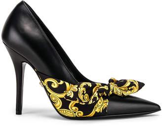 Versace Print Heels in Black & Gold   FWRD