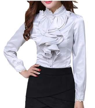 c7a28de7cf265 Esast Women Victorian Blouse Lolita Lace Stand-up Collar Lotus Ruffle Shirt  XS