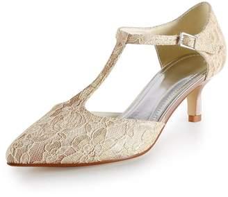 Minishion Womens Low Heel Lace Fashion Evening Parting Bridal Wedding Dress T-Strap Pumps US 7