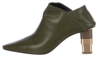 Celine 2016 Leather Square-Toe Mules