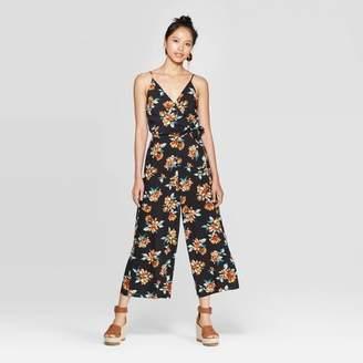 Xhilaration Women's Floral Print Sleeveless V-Neck Wrap Jumpsuit Black