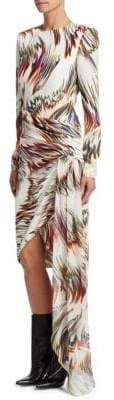 Givenchy Long Sleeve Printed Asymmetrical Silk Dress