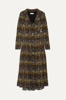 Chloé Pleated Printed Georgette Midi Dress - Black