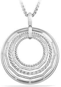 David Yurman Women's Stax Sterling Silver Large Pendant Necklace with Diamonds - Silver