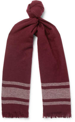 Brunello Cucinelli Fringed Striped Cashmere Scarf - Men - Burgundy