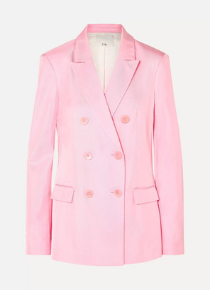 Tibi Double-breasted Satin-twill Blazer - Pink