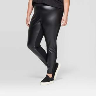 Ava & Viv Women's Plus Size Faux Leather Ponte Leggings - Ava & VivTM Black