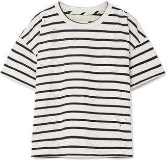 Current/Elliott The Roadie Distressed Striped Cotton-blend T-shirt - Cream