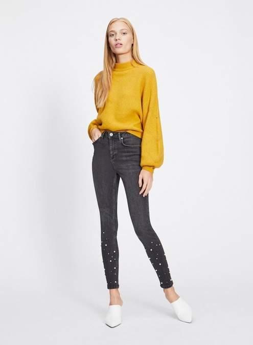 Lizzie black pearl hem jeans