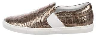 Lanvin Embossed Leather Slip On Sneakers w/ Tags