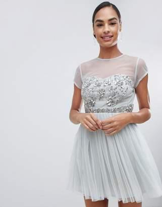 Maya capped sleeve embellished mini dress