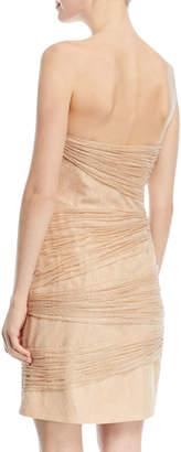 Halston Strapless Metallic Layered Mini Dress