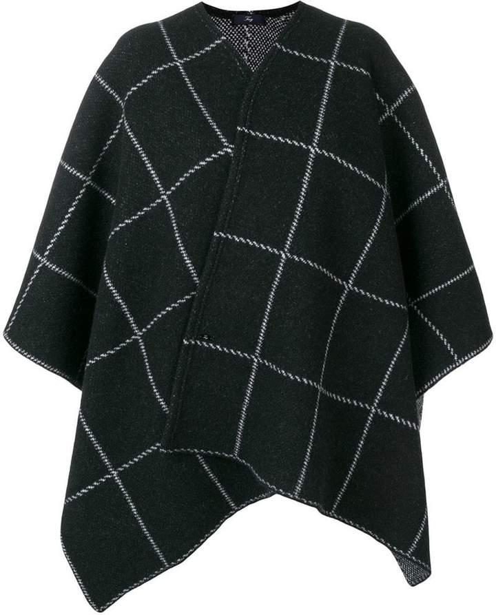 check pattern cape coat
