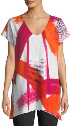 Donna Karan Paint-Stroke Print V-Neck Poncho Top